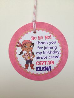 {Jake and the Neverland Pirates Birthday Party} Thank you tag