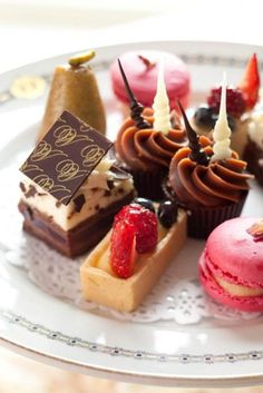 Tray of Mini Cakes for Afternoon Tea