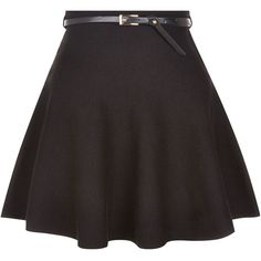 New Look Black Belted Skater Skirt ($13) ❤ liked on Polyvore featuring skirts, bottoms, saias, black, faldas, circle skirt, skater skirt, flared skirt and belted skirt