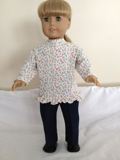 American Girl or 18 Inch Doll Clothes Jeans with a Dainty Floral Print Long-Sleeved Tee with Ruffle by LeslieNLaura on Etsy $10.00