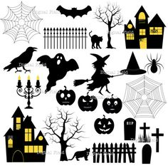 Halloween Silhouette Clip Art Set - printable digital papers, clip art, frames, etc - instant download