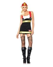 alarm fire and no one can put it out, except you in this sexy Backdraft Babe adult womens costume. The smokin' hot, black, garter dress features an attached white tank top, yellow and silver reflective trim and red suspenders. The fire only starts when you showed up!