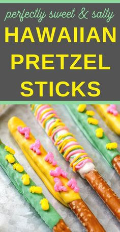 These Luau Pretzel Rods are so simple and easy to make! Not only are they delicious, but they're something everyone can create on their own! Dipping pretzel rods in chocolate is so simple and easy to do! Dipped Pretzel Rods, Chocolate Dipped Pretzels, Melting Chocolate, Fun Desserts, Dessert Recipes, Picnic Recipes, Baking Desserts, Dessert Ideas, Hawaiian Luau