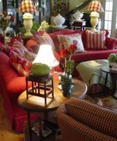 51 Ideas Living Room Red Decor French Country For 2019 Lake Cottage Living, Living Room Decor Country, French Country Living Room, Living Room Red, French Cottage, French Country Style, Red Cottage, English Style, Cottage Style