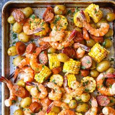 Easiest SHEET PAN shrimp boil ever! And it's mess-free using a single sheet pan. ONE PAN. No newspapers. No bags. No clean-up!
