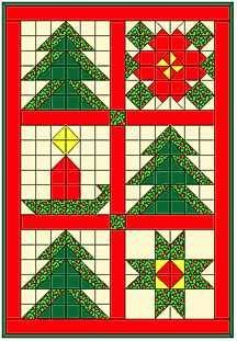 Christmas Tree Sampler Quilt - all simple squares and HSTs: