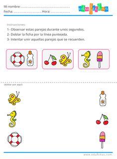 Ejercicios de parejas de estimulación cognitiva con dibujos para niños pequeños.