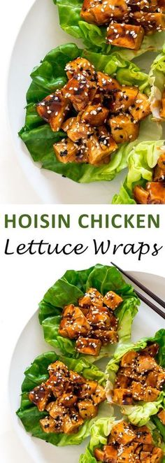Super Easy Hoisin Chicken Lettuce Wraps. Marinated grilled chicken tossed in an amazing Hoisinsauce.
