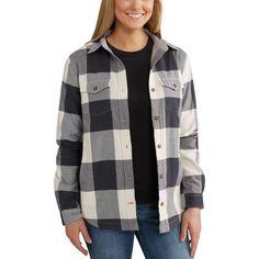 Carhartt Women's Rugged Flex Hamilton Fleece Lined Flannel, Size: Medium, Natural