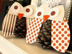 Pinecone owls. Fun kids craft!  | followpics.co