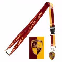 GRYFFINDOR House Detachable Neck Lanyard ID Badge Holder Metal Charm Keychain #Bioworld