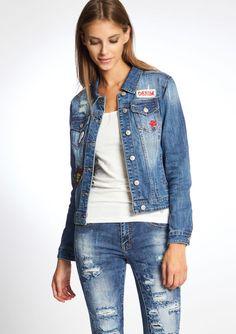 Gebleekte jeans jas met badges - MEDIUM BLUE - 09000821_500