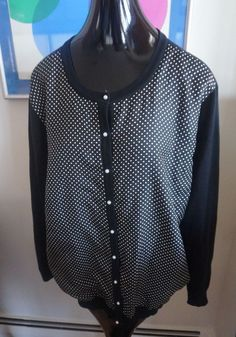 Ralph Lauren Women Silk Black & White Polka Dot Sweater Cadigan Plus Size 3X #LaurenRalphLauren #Cardigan #Work
