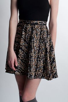 Black Highwaisted Printed Skirt by Moon Collection