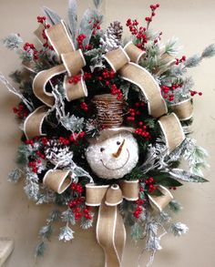 Snowman wreath at Something Special Snowman Wreath, Snowman Crafts, Diy Wreath, Christmas Projects, Holiday Crafts, Christmas Ideas, Christmas Door Wreaths, Holiday Wreaths, Christmas Snowman