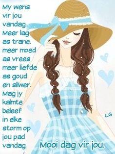 Lekker Dag, Evening Greetings, Goeie More, Good Morning Wishes, Afrikaans, Disney Characters, Fictional Characters, Disney Princess, Words
