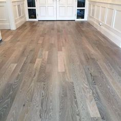 One of our jobs finishing up this week. We Refinished some existing red oak floo… One of our jobs finishing up this week. We Refinished some existing red oak floors homeowner wanted a unique and more modern look than just… Hardwood Floor Stain Colors, Refinishing Hardwood Floors, Oak Hardwood Flooring, Grey Hardwood, Floor Refinishing, Red Oak Floors, Grey Wood Floors, Grey Flooring, Flooring Ideas