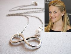 Silver Infinity Necklace Reese Witherspoon Inspired by froshjewels