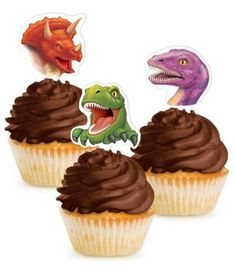 Will your guests be brave enough to pick up a cupcake with one of these menacing dinosaur cupcake toppers? The pack comes with 3 different dinosaurs. A tyrannosaurus rex, a triceratops,and a diplodocus. See more party ideas and share yours at CatchMyParty.com