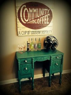 Antique desk done in ASCP Florence and Community Coffee sign done in ASCP Primer Red and Old White....