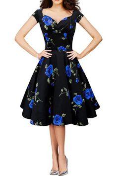 s 'Robe style vintage Motif sweetheart cou à manches courtes Fleur froncé Femmes - Bleu L