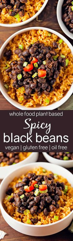 Spicy Black Beans, Whole Food Plant Based, vegan, gluten free, oil free, refined sugar free, healthy