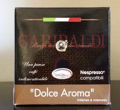 Dalla Torrefazione Garibaldi il nuovo compatibile Nespresso, cialda di caffè Dolce Aroma,  dal gusto intenso e cremoso. 6,75€ Iva compresa per 1 conf. da 25 caps