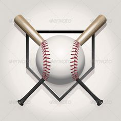 Buy Vector Baseball, Bat, Homeplate Illustration by enterlinedesign on GraphicRiver. A baseball illustration made for a ball and two crossed bats over home plate. Vector EPS contains transparencies and . Baseball Videos, Baseball Tips, Baseball Crafts, Baseball Pictures, Baseball Decorations, Clemson Baseball, Mariners Baseball, Paper Decorations, Best Baseball Player