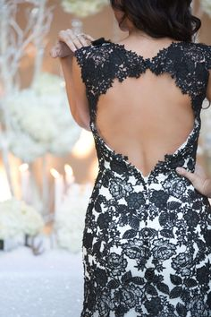 Allure Bridals White Winter Wedding Inspiration - Love this black and white lace gown!