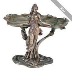 Art Nouveau Woman Bronze Tray: Bars Cigars and Brew Store