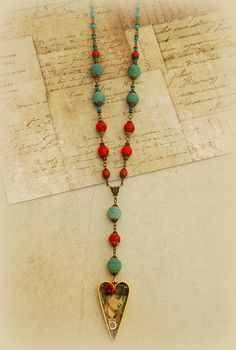 Rosary style necklace with heart shaped bezel by ClockHandsGoneMad, $60.00