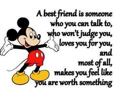 Friendship quote with Mickey Mouse photo Disney Friendship Quotes, Bff Quotes, Best Friend Quotes, Disney Quotes, Cute Quotes, Qoutes, Disney Poems, Disney Movies, Funny Friendship