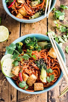 Sesame Ginger Carrot Noodle Stir Fry with Bok Choy and Crispy Tofu is an easy to make, healthy, and super delicious vegan and gluten-free dinner recipe that is perfect for Meatless Monday. | theendlessmeal.com
