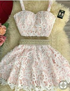 Prom Dresses For Teens, homecoming dresses,cute pink two pieces lace short prom dress, pink homecoming dress, Short prom dresses and high-low prom dresses are a flirty and fun prom dress option. Lace Homecoming Dresses, Hoco Dresses, Dance Dresses, Dress Outfits, Fashion Dresses, Cute Short Dresses, Cute Teen Dresses, Freshman Homecoming Dresses, Pretty Dresses For Teens