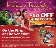 Madame Tussaud's $10 Off coupon: Las Vegas, Nevada. Save with Free Discount Travel Coupons from DestinationCoupons.com!