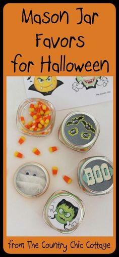 Mason Jar Favors for Halloween | Free Printables by kelly.meli
