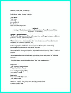 Cocktail Waitress Resume Restaurant Advertisement  Free Sample Edits  Pinterest