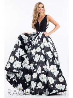 Rachel Allen 7664 Size 12 Black floral prom dress, evening dress