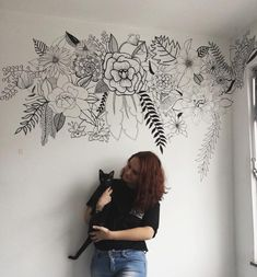 Discover recipes, home ideas, style inspiration and other ideas to try. Mural Floral, Flower Mural, Floral Wall, Wall Painting Decor, Mural Wall Art, Wall Decor, Painting Murals On Walls, Wall Art Designs, Paint Designs