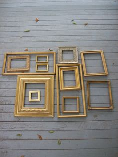 different sized gold frames