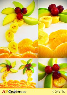 Make this tropical island scene with your children using fruit! #kids #foodcrafts #fruit #ABCmouseCrafts