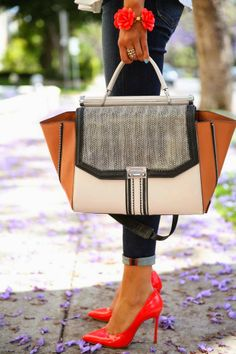 Charming Modern Handbag with Adorable Red Stiletto Shoes and Jeans