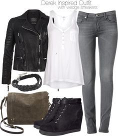 Grey jeans white top black leather jacket black boots
