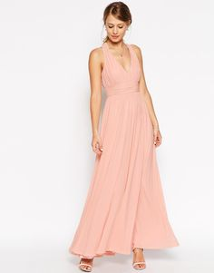 ASOS WEDDING V Neck Twist Back Maxi Dress