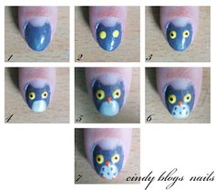 Nail Art: Owl +Tutorial. This would look cute with lollipops on the other fingers :O