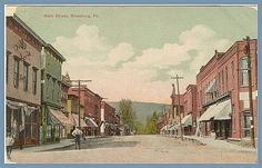 Main Street, Blossburg, PA at the turn of the century.  Home of James C. O'Brien, miner and farmer, my great-grandfather.