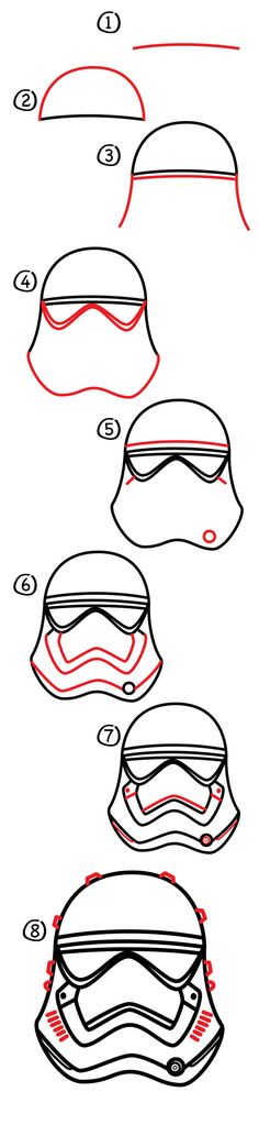 I love Star Wars helmets! Today we're learning how to draw a First Order stormtrooper helmet. Have you seen our original stormtrooper helmet lesson? And you can count on us doing a lot more helmets…I can't wait to draw Kylo Ren's!