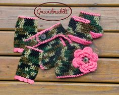 Baby Girls Camo Hat, Diaper Cover, Legwarmers and Booties  trimmed in Bright Fuchsia Pink Also available in orange or cream trim on Etsy, $56.00