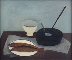 William Scott, Frying Pan and Red Herrings, 1947, Oil on canvas, 50.8 × 61 cm / 20 × 24 in, Private collection