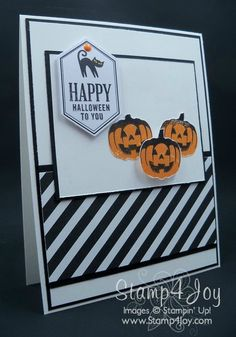 Paper Pumpkin Handmade Halloween Card - www.Stamp4Joy.com